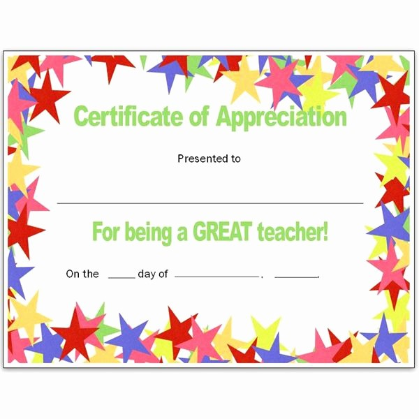 Border for Certificate Of Appreciation Luxury Free Teacher Appreciation Certificates Download Word and