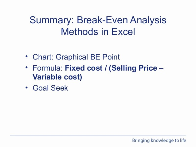 Break even Analysis formula Excel New Webinar Performing Break even Analysis In Excel