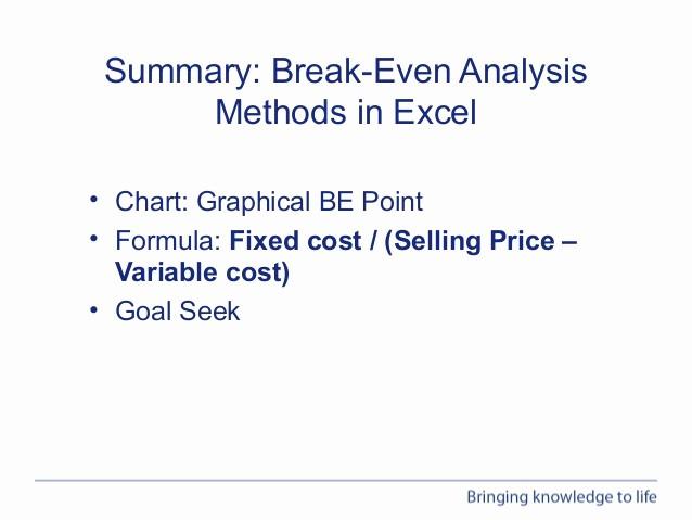 Break even Analysis formula Excel New Webinar Performing Break even Analysis In Excel