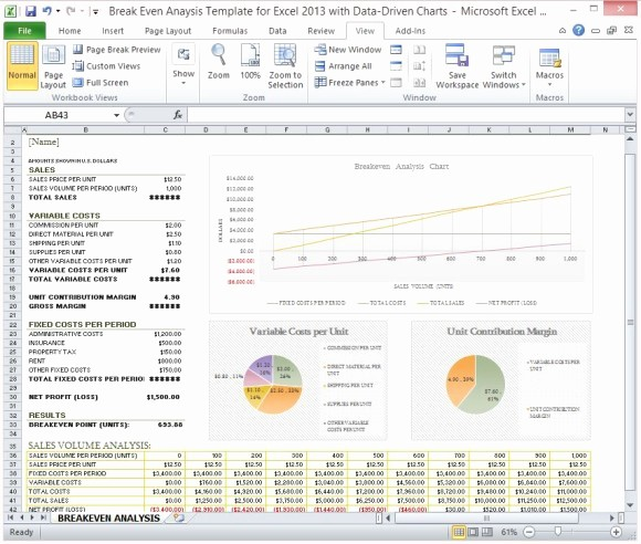 Break even Analysis formula Excel Unique Break even Analysis Template for Excel 2013 with Data