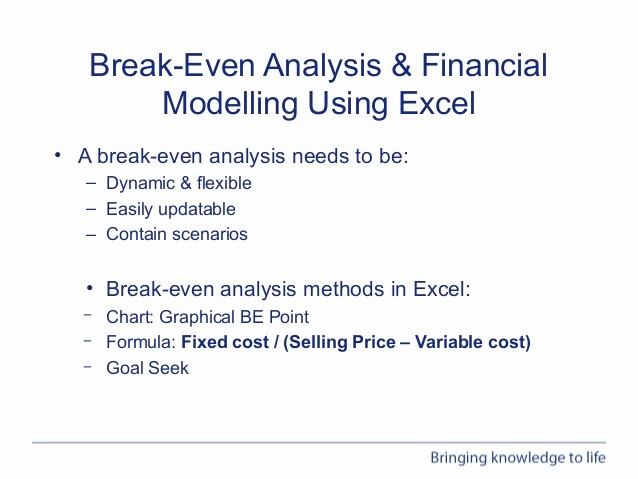 Break even Analysis formula Excel Unique Webinar Performing Break even Analysis In Excel