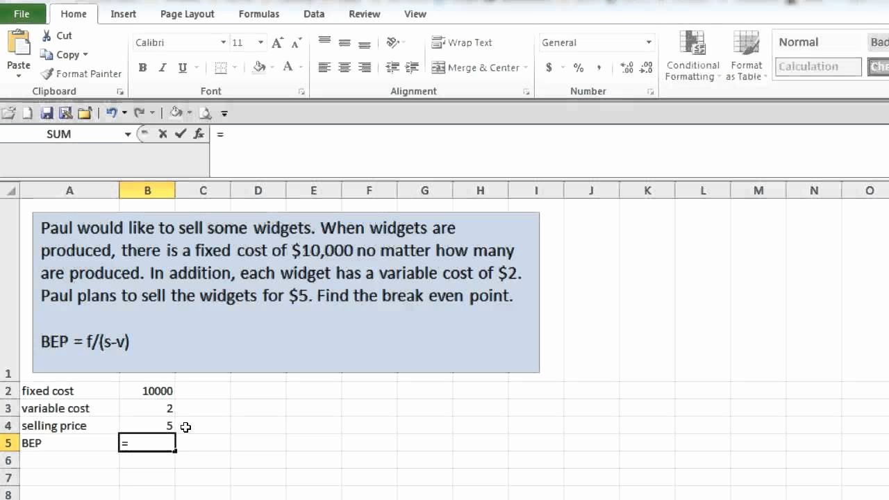 Break even Point In Excel Awesome Break even Point In Excel