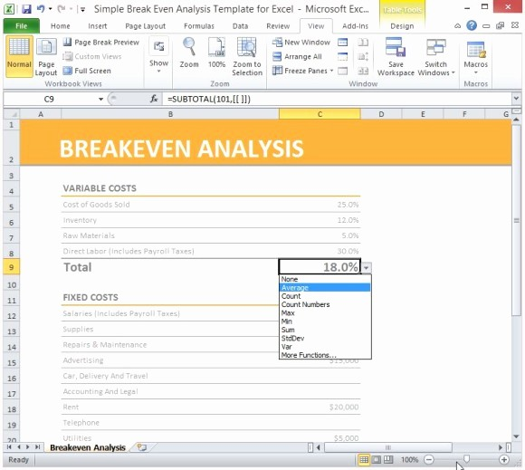 Break even Point In Excel Luxury Simple Breakeven Analysis Template for Excel 2013