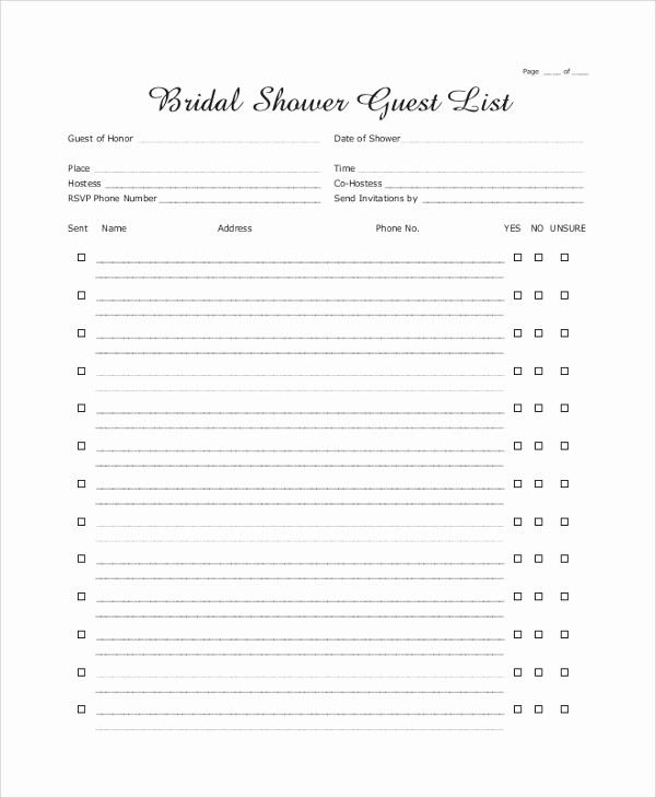 Bridal Shower Gift List Sheet Awesome 8 Sample Wedding Guest Lists