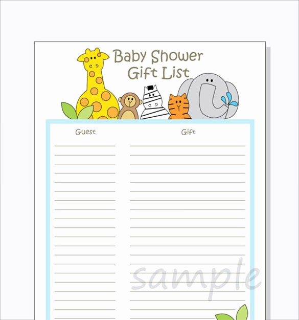 Bridal Shower Gift List Sheet Awesome Baby Shower Gift List Template – 8 Free Word Excel Pdf