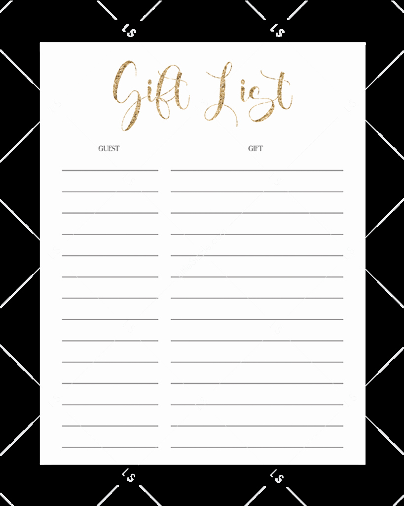 Bridal Shower Gift List Sheet Awesome Gold Diaper Raffle Ticket Template
