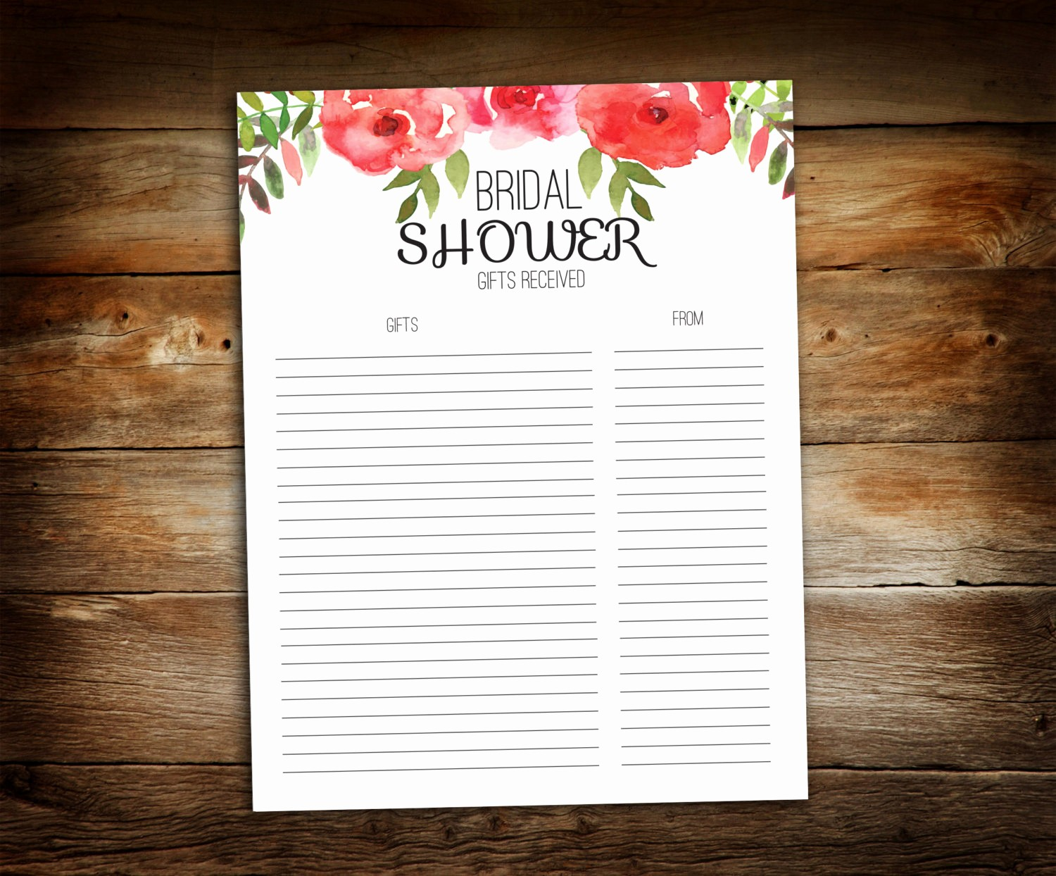 Bridal Shower Gift List Sheet Beautiful Bridal Shower Gift List List Of Received Gifts Wedding
