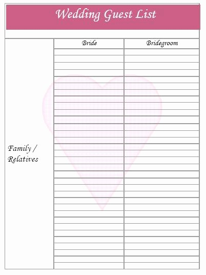 Bridal Shower Gift List Sheet Beautiful Wedding Guest List