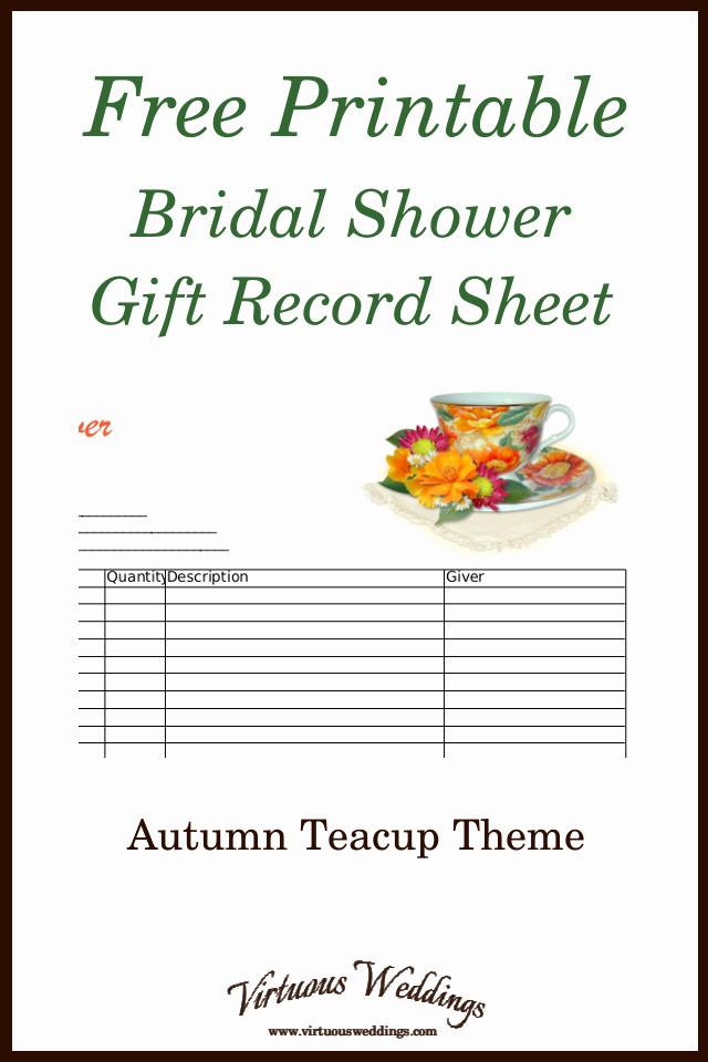 Bridal Shower Gift List Sheet Best Of Autumn themed Teacup Bridal Shower Gift Record Sheet Free