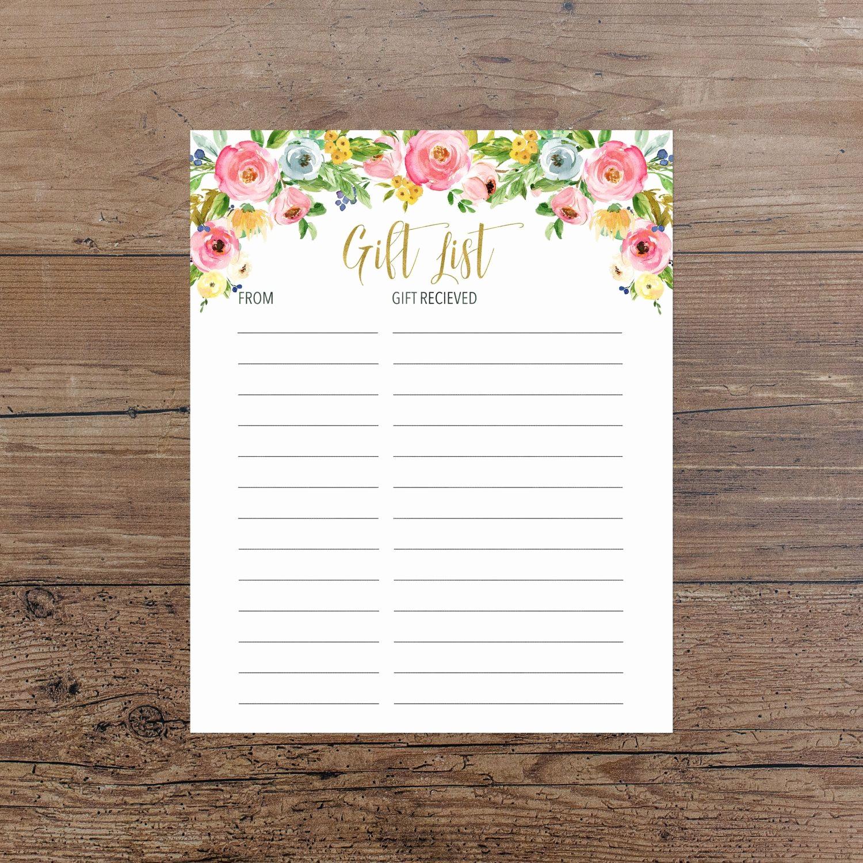 Bridal Shower Gift List Sheet Best Of Floral Gift List Printable Pink Floral Gift List Baby