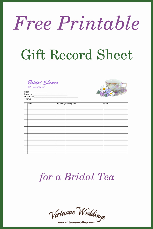 Bridal Shower Gift List Sheet Best Of Free Printable Gift Record Sheet for A Bridal Tea