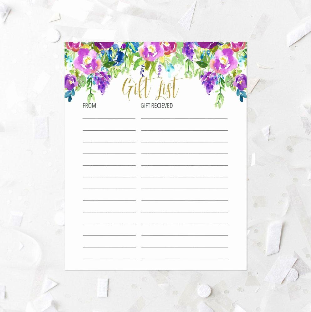 Bridal Shower Gift List Sheet Fresh Floral Gift List Printable Lavender Violets Gift List Baby