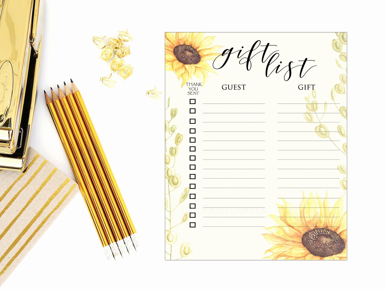 Bridal Shower Gift List Sheet Fresh Sunflower Gift List Sheet Bridal Shower Gift List Baby