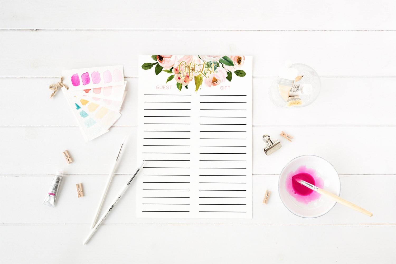 Bridal Shower Gift List Sheet Inspirational Blush Pink Floral Gift List Sign In Sheet Bridal Shower Gift