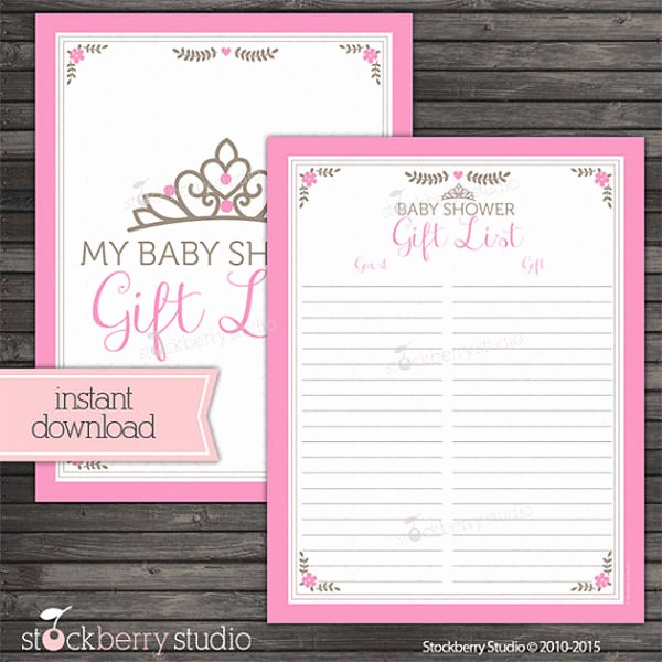 Bridal Shower Gift List Sheet Lovely Baby Shower Guest List Template 8 Free Word Excel Pdf