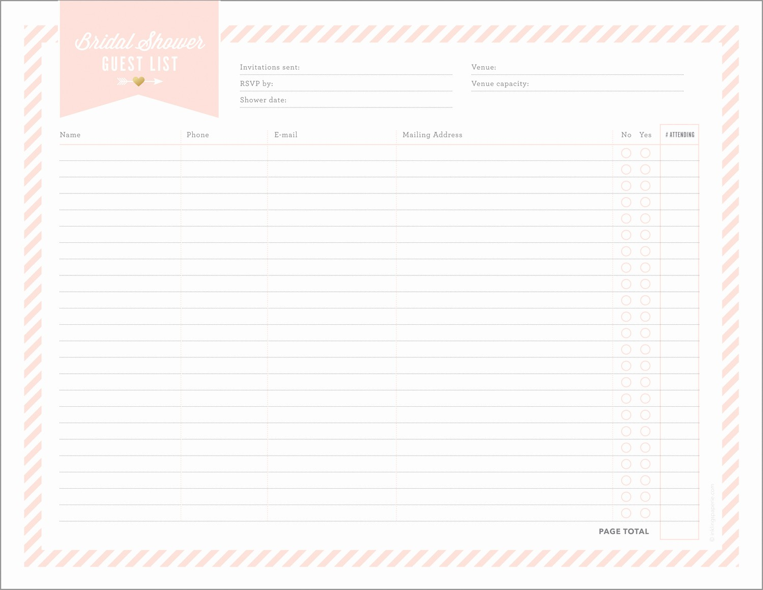 Bridal Shower Gift List Sheet Lovely Free Printables for Bridal Shower Planning