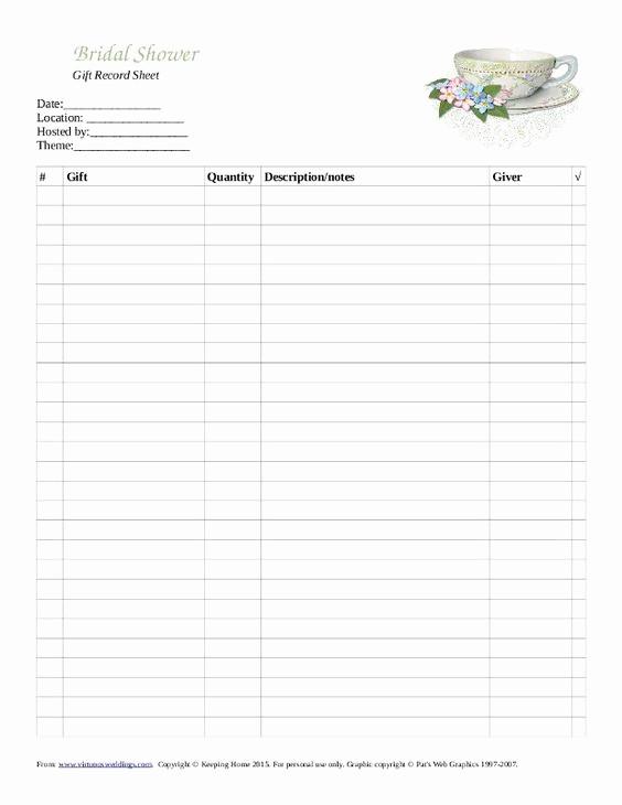 Bridal Shower Gift List Sheet Luxury Pinterest • the World's Catalog Of Ideas