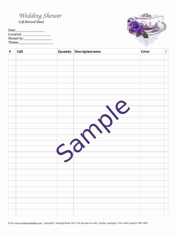 Bridal Shower Gift List Sheet Luxury Wedding Shower Gift Record Template Lading for