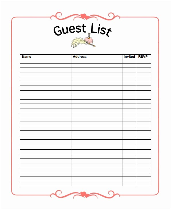 Bridal Shower Gift List Sheet New 17 Wedding Guest List Templates – Pdf Word Excel