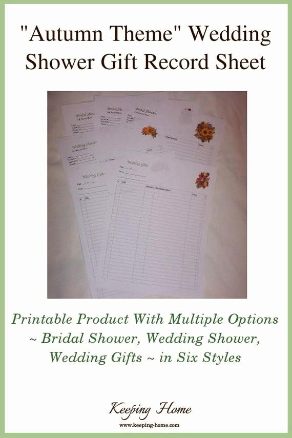 Bridal Shower Gift List Sheet New Autumn Floral Bridal Shower Gift Record Sheet Wedding