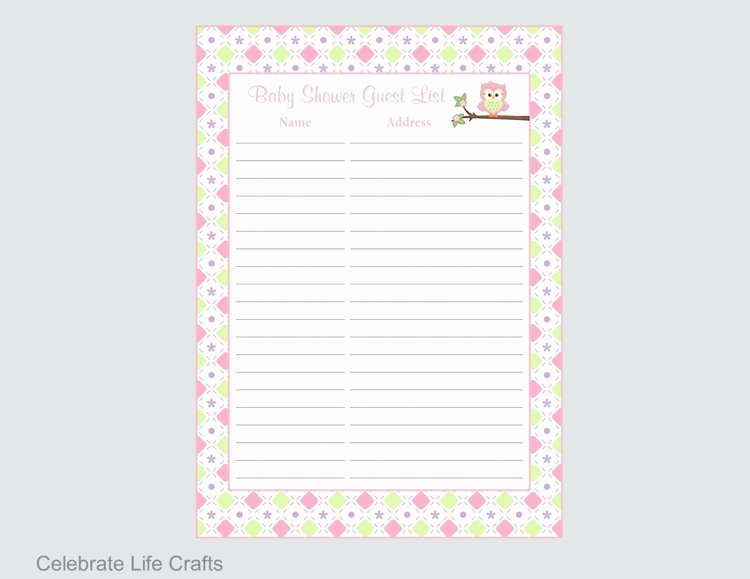 Bridal Shower Gift List Sheet New Bridal Shower Gift Record Template Template