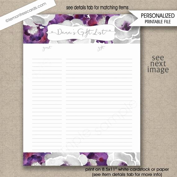 Bridal Shower Gift List Sheet New Items Similar to Purple Silver Bridal Shower Guest Sign In