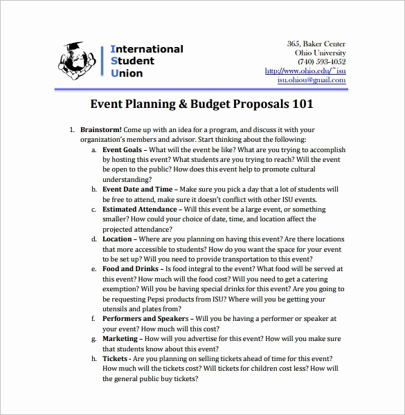 Budget Proposal Sample for event Awesome event Proposal Template 21 Free Word Pdf format