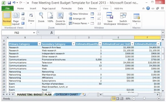 Budget Proposal Sample for event Fresh Free Meeting event Bud Template for Excel 2013
