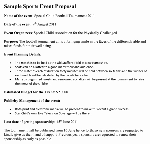 Budget Proposal Sample for event New Sports Proposal Template Sports event Proposal Template