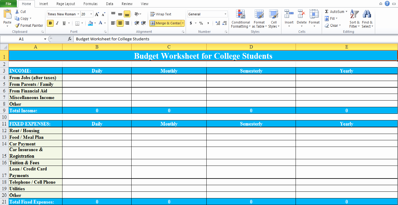 Budgeting Worksheet for College Students Elegant Bud Worksheet for College Students Excel Tmp