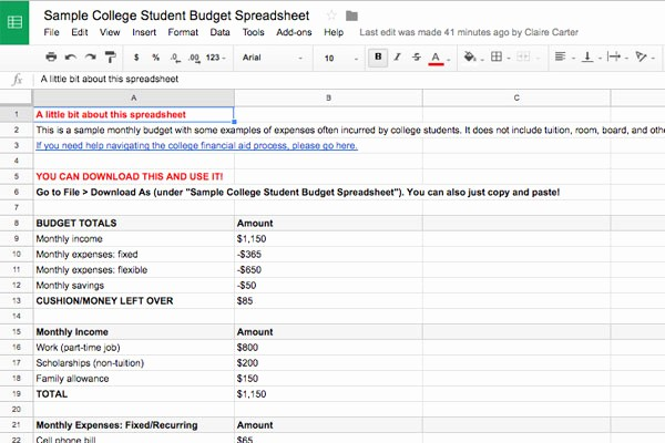 Budgeting Worksheet for College Students Fresh Bud Ing Basics for College Students Plus Example