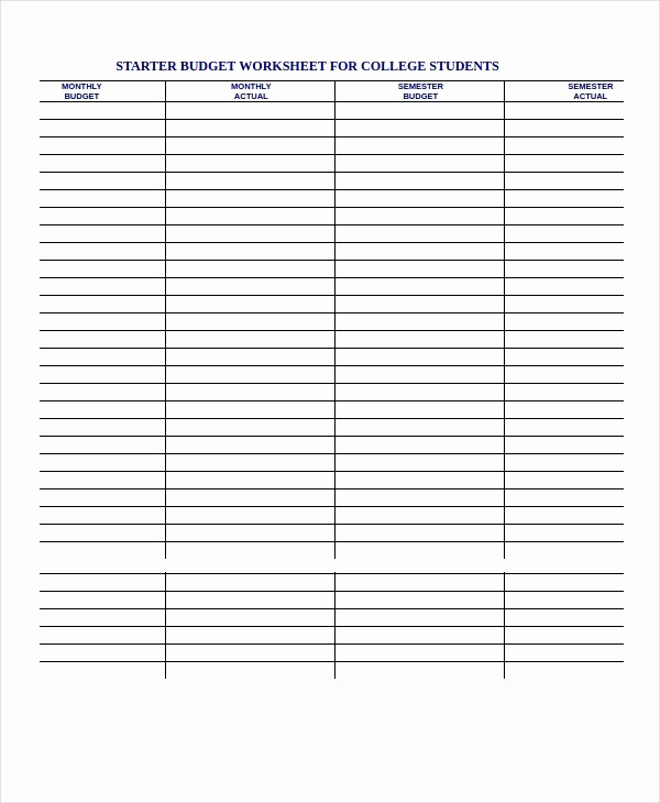 Budgeting Worksheet for College Students Fresh Printable Bud Worksheet 18 Free Word Excel Pdf