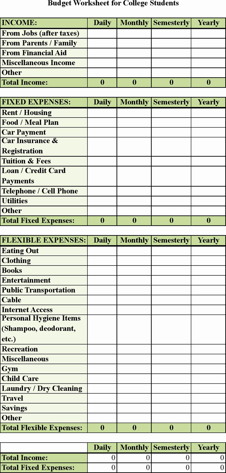 Budgeting Worksheet for College Students Lovely Bud Worksheet for College Students Kidz Activities