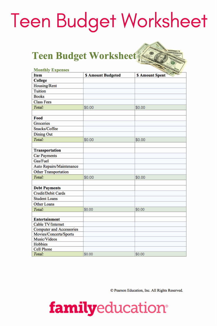 Budgeting Worksheet for College Students New Teen Bud Worksheet Printable