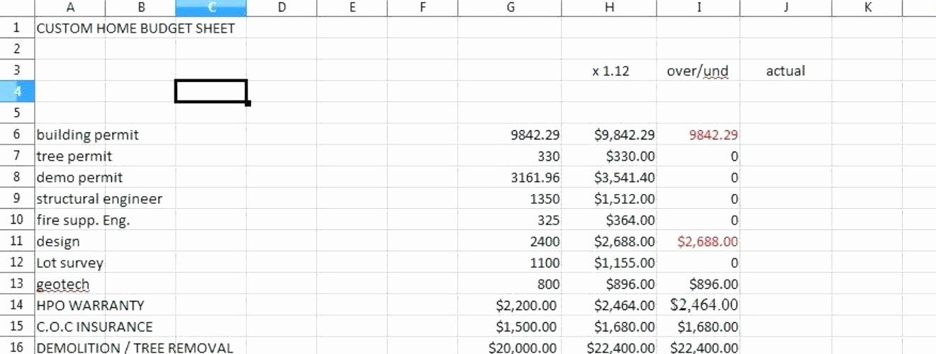 Building A House Cost Spreadsheet Best Of Residential Construction Bud Template