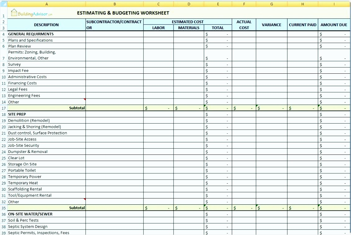 Building A House Cost Spreadsheet Fresh 9 Home Construction Cost Spreadsheet Tipstemplatess