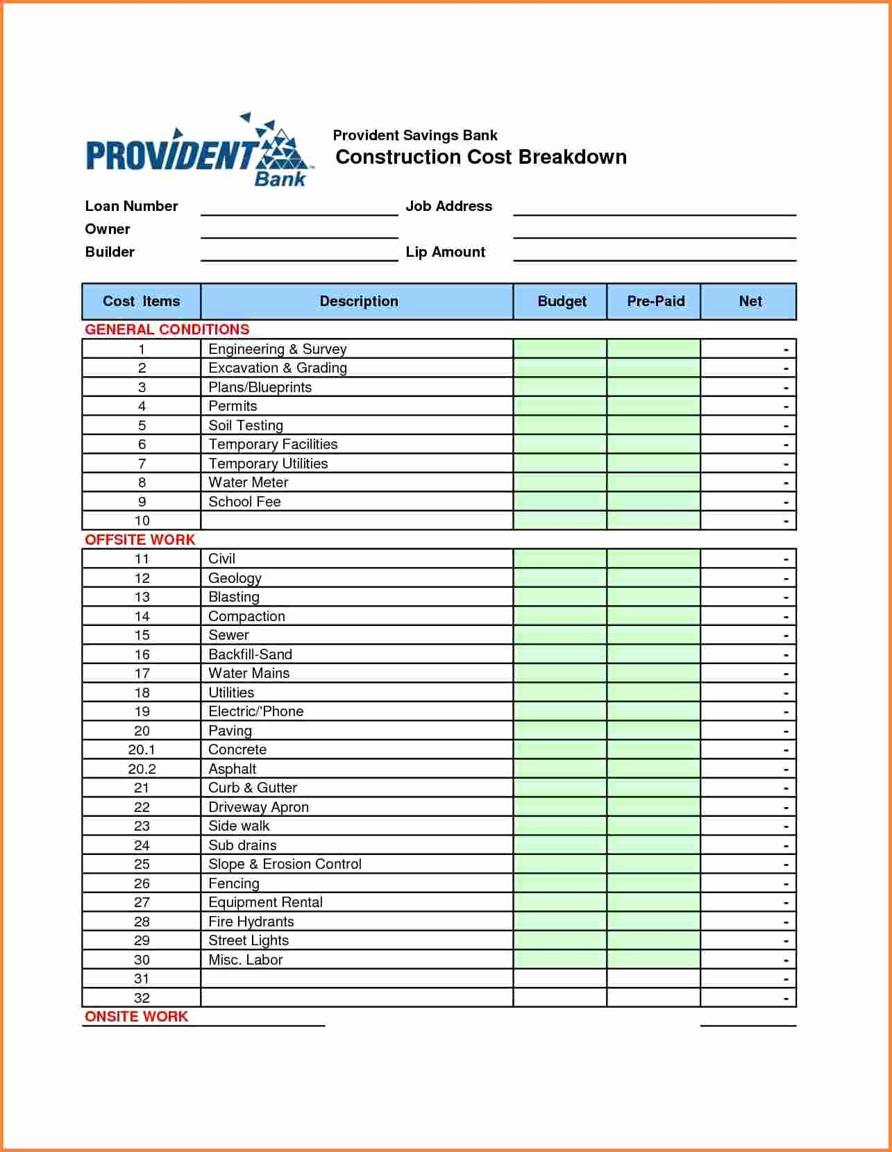 Building A House Cost Spreadsheet Inspirational 10 Construction Cost Spreadsheet Template