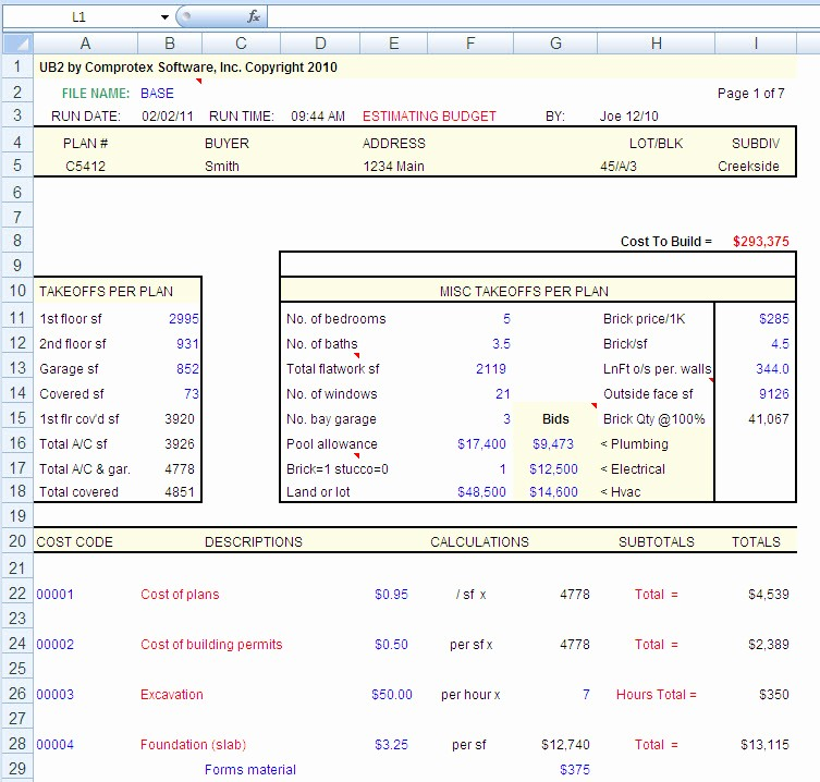 Building A House Cost Spreadsheet New House Construction House Construction Excel Spreadsheet