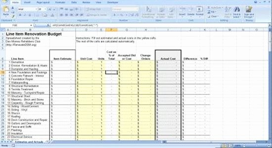 Building A House Cost Spreadsheet New Renovation Construction Bud Spreadsheet Implementing