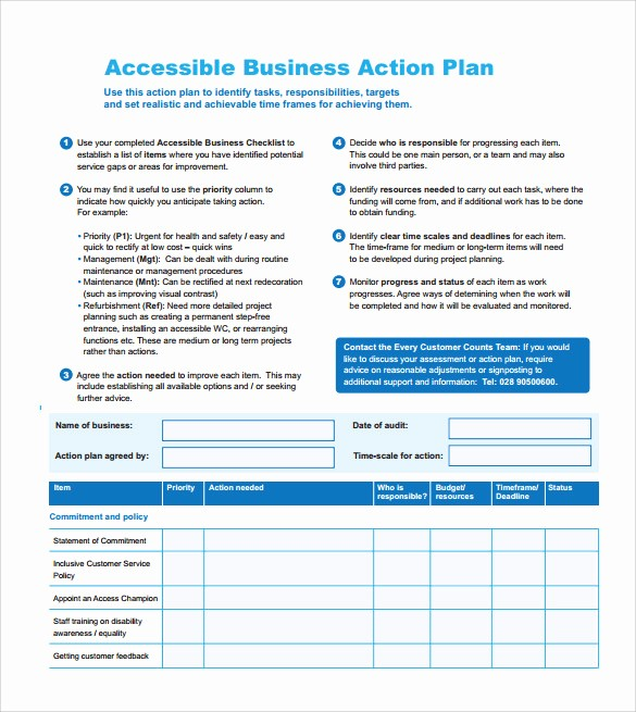 Business Action Plan Template Word Elegant Project Action Plan Template 9 Download Documents In
