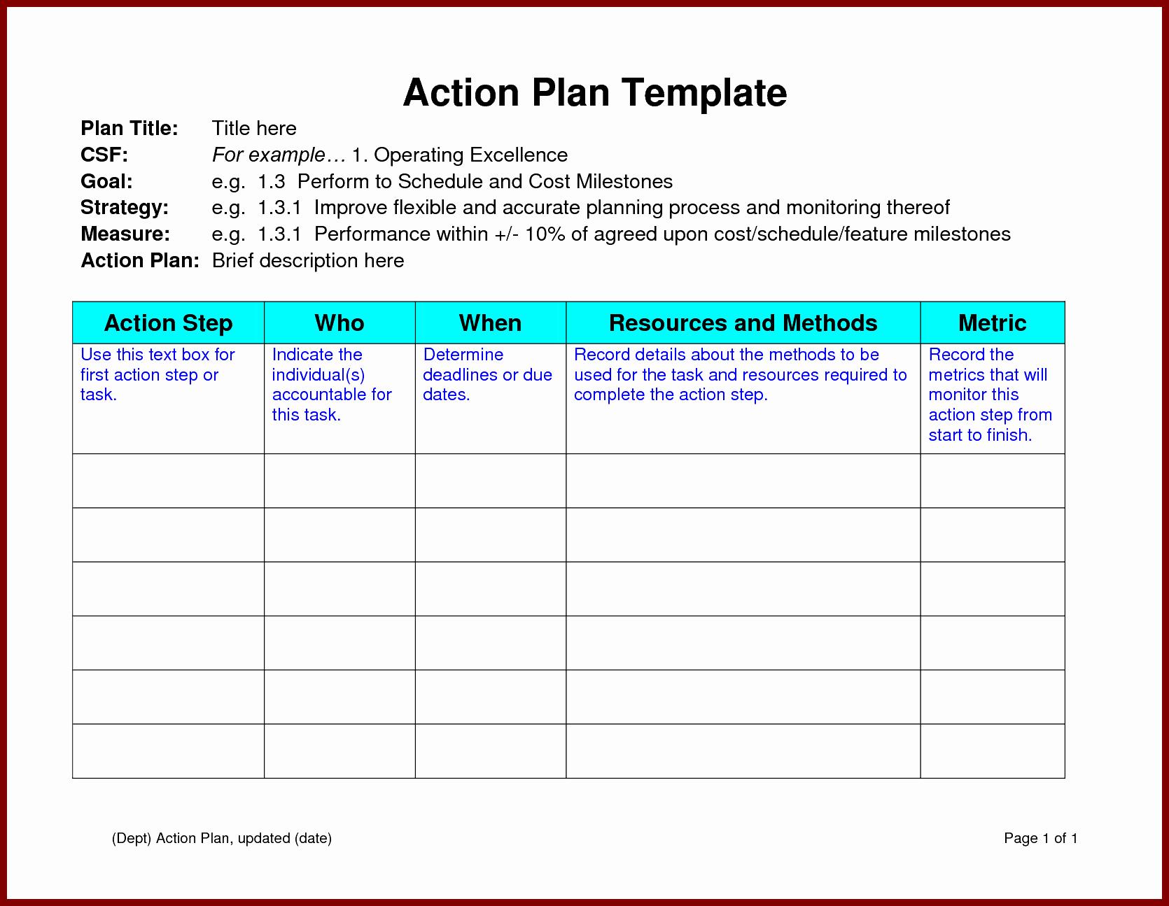 Business Action Plan Template Word Unique Action Plan Template Word Example Mughals