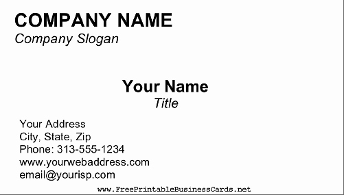 Business Card Template Free Printable Lovely Blank Business Card