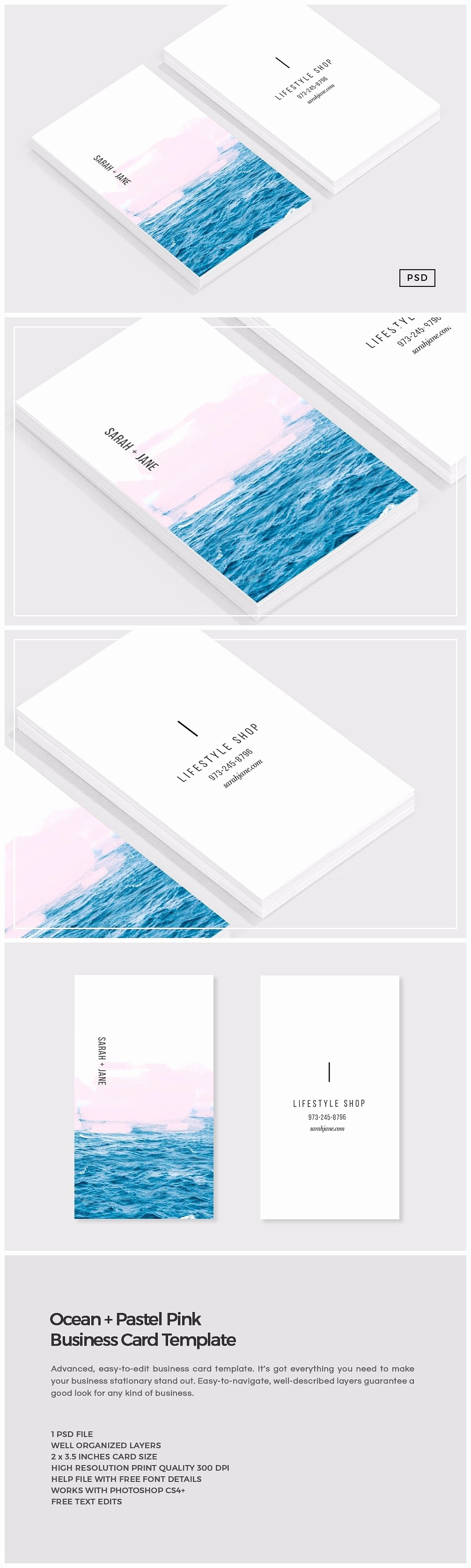 Business Card with Picture Template Inspirational Ocean Pink Business Card Template Business Card