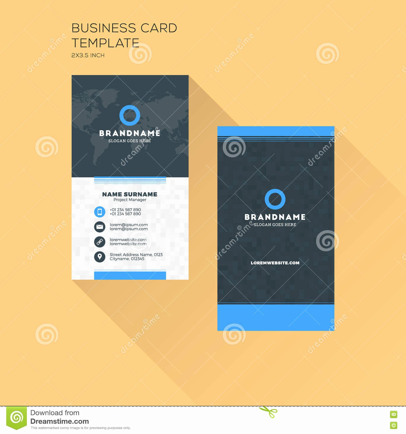 Business Card with Picture Template Inspirational Vertical Business Card Print Template Personal Business