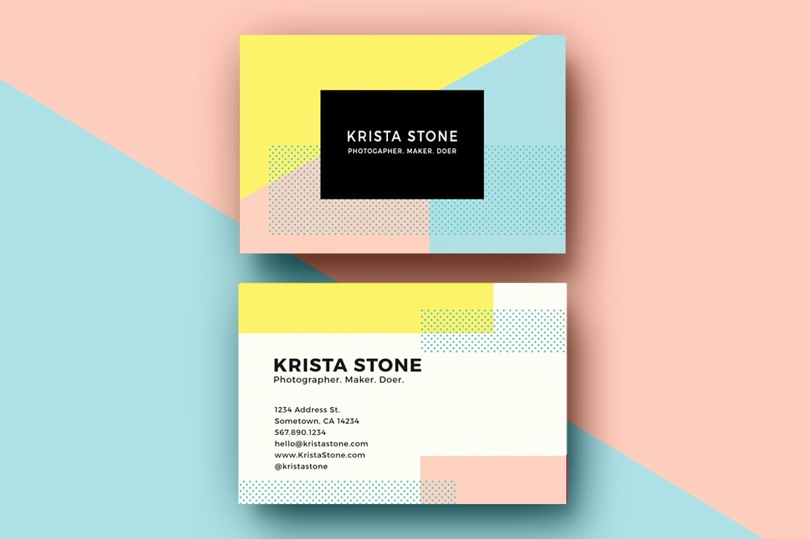Business Card with Picture Template New Geo Shapes Business Cards Template Business Card