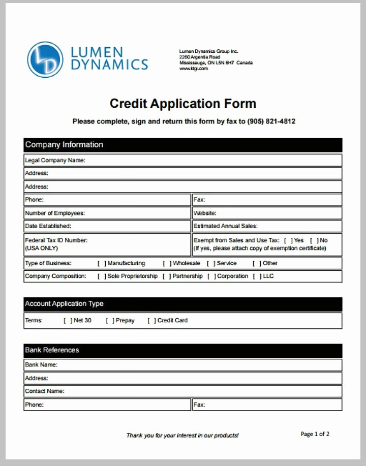 Business Credit Application form Template Awesome 8 Credit Application form Templates Pdf