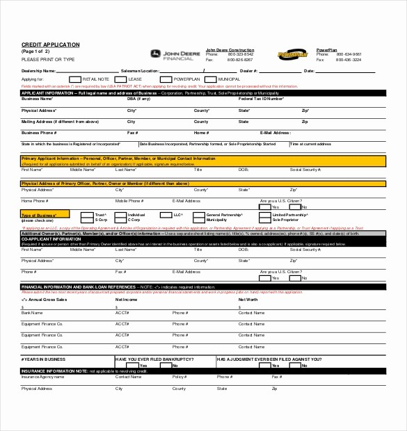 Business Credit Application form Template Best Of 15 Credit Application Templates Free Sample Example
