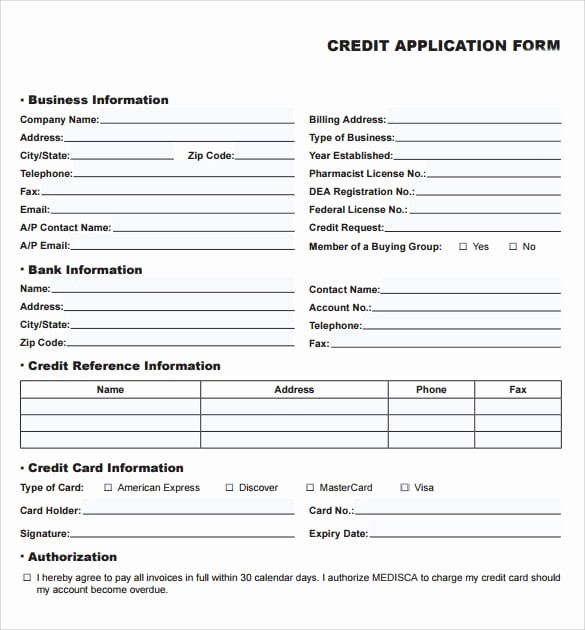 Business Credit Application form Template Elegant 8 Credit Application Templates Excel Excel Templates