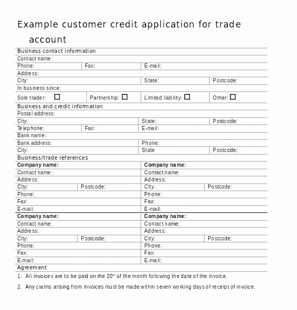 Business Credit Application form Template Fresh Business Account Application form ate Best Credit