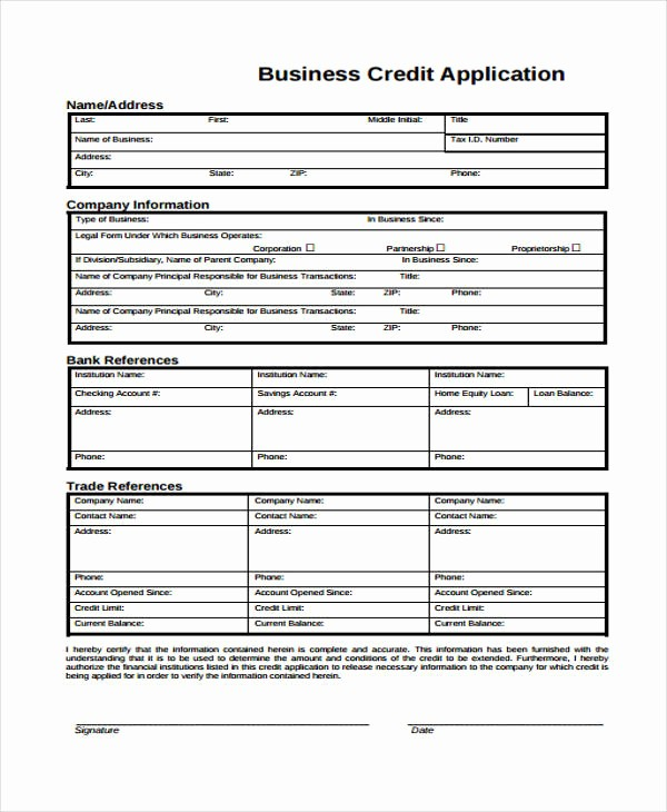 Business Credit Application form Template Luxury 15 Credit Application form Templates